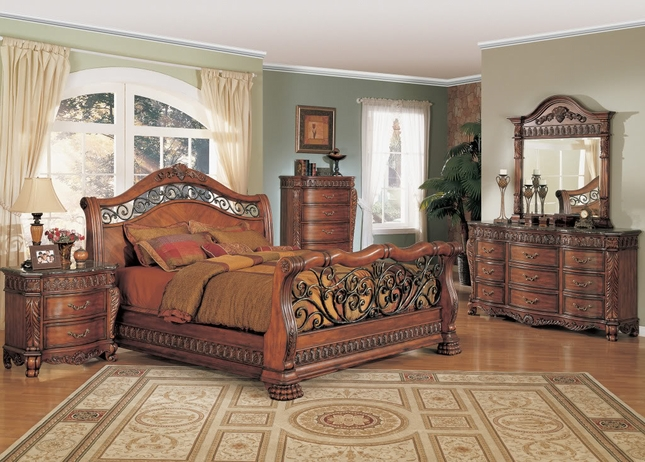 nicholas luxury bedroom set cherry finish marble tops free shipping
