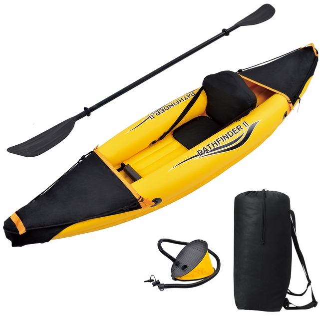 Nomad 1 Person Fabric Seat Inflatable Sport Kayak with Paddle, Pump, Carry Bag