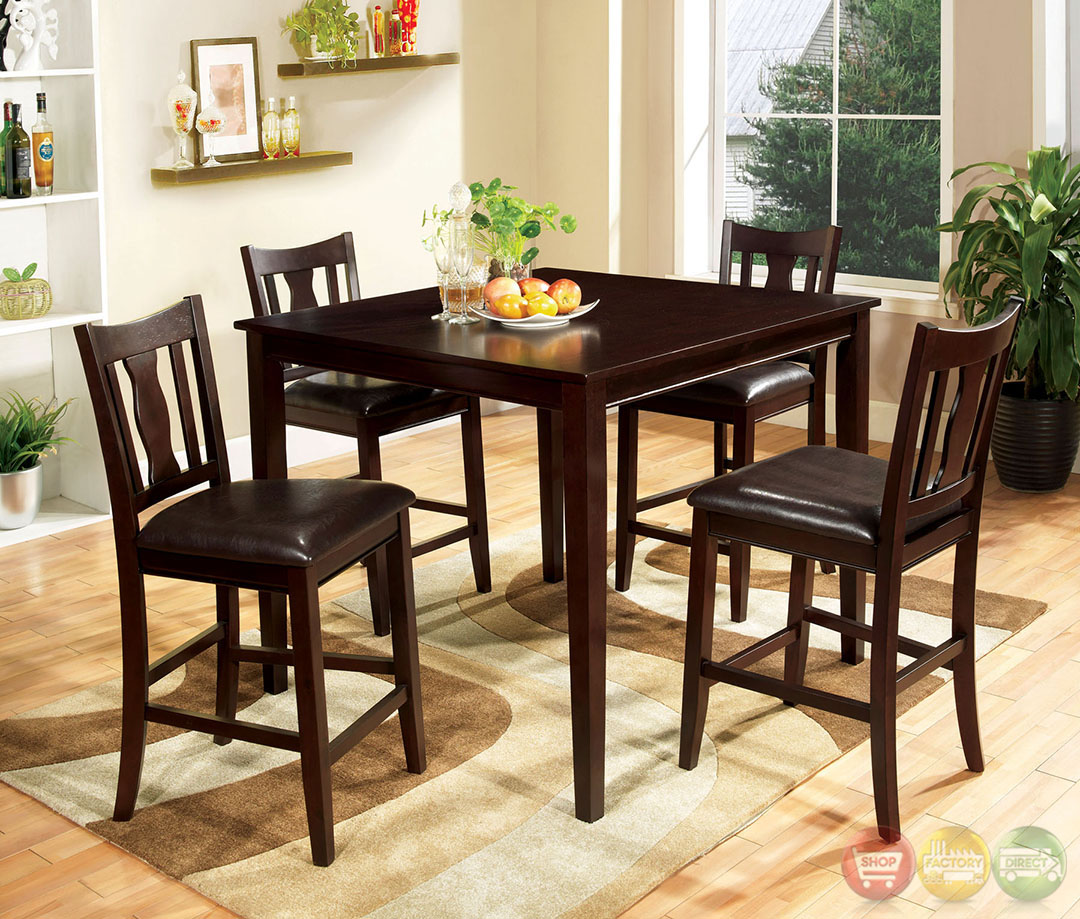 Northvale II Espresso Counter Height Dining Set with Brown Leatherette ...