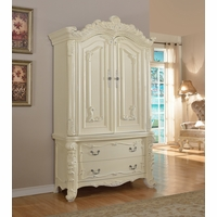 Novara French Ornate 2-Drawer A/V Armoire In Pearl White