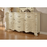 Novara French Ornate 5-Drawer Dresser In Pearl White