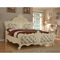 Novara French Ornate Crystal Tufted Queen Bed In Pearl White