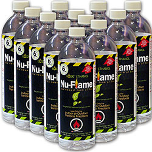 Nu-Flame 12 Pack 1 liter Bottles Ethanol Eco Friendly Liquid Fireplace Fuel
