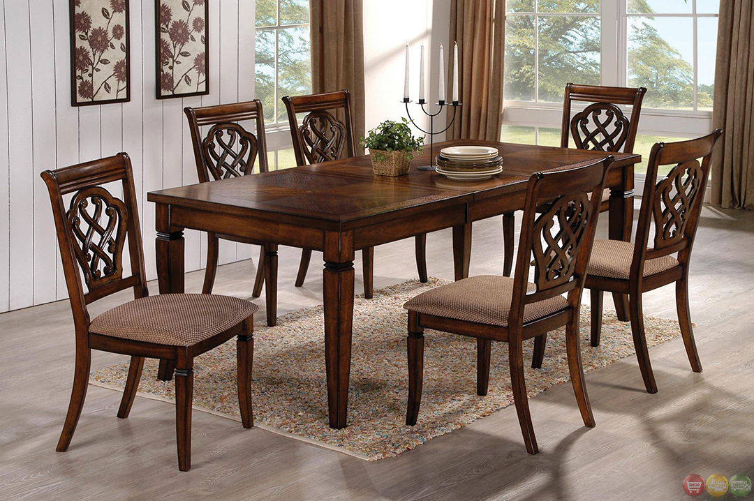 Oak Transitional Style 7 Piece Dining Room Table And Chairs Set