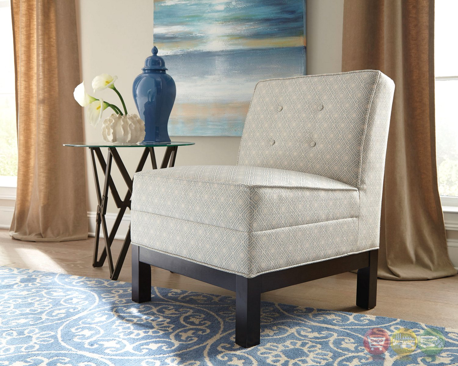 Oatmeal Beige Button Tufted Armless Accent Chair With