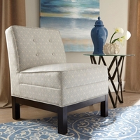 Oatmeal Beige Button Tufted Armless Accent Chair with Cappuccino Legs