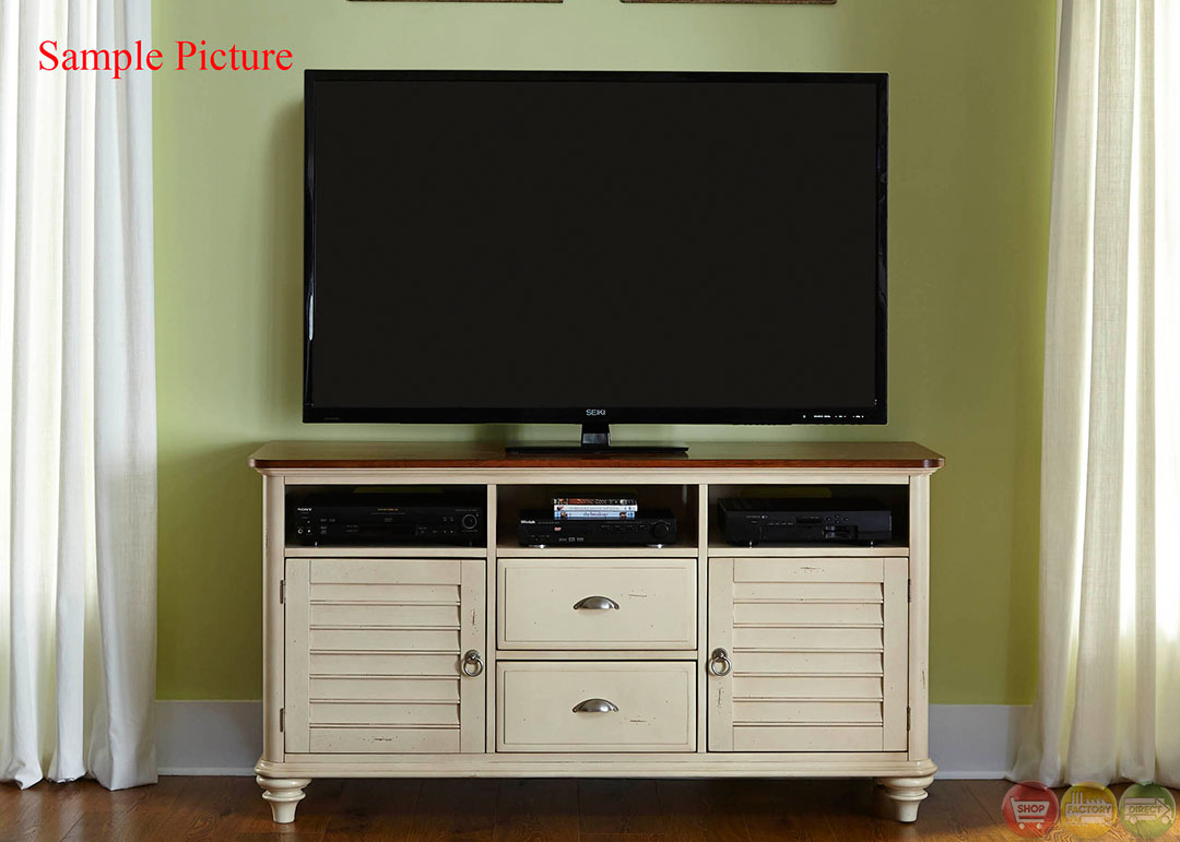 Ocean Isle Coastal Cottage Bisque Entertainment Center