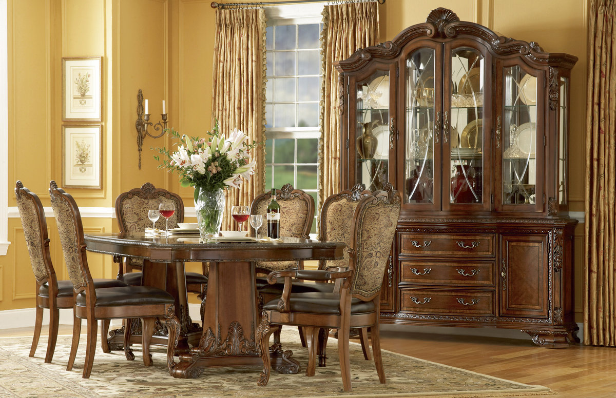 Traditional Formal Dining Room Furniture Set Inspired Home  : old world formal dining room furniture pedestal table upholstered chairs 5 from beijingef.com size 1200 x 776 jpeg 286kB