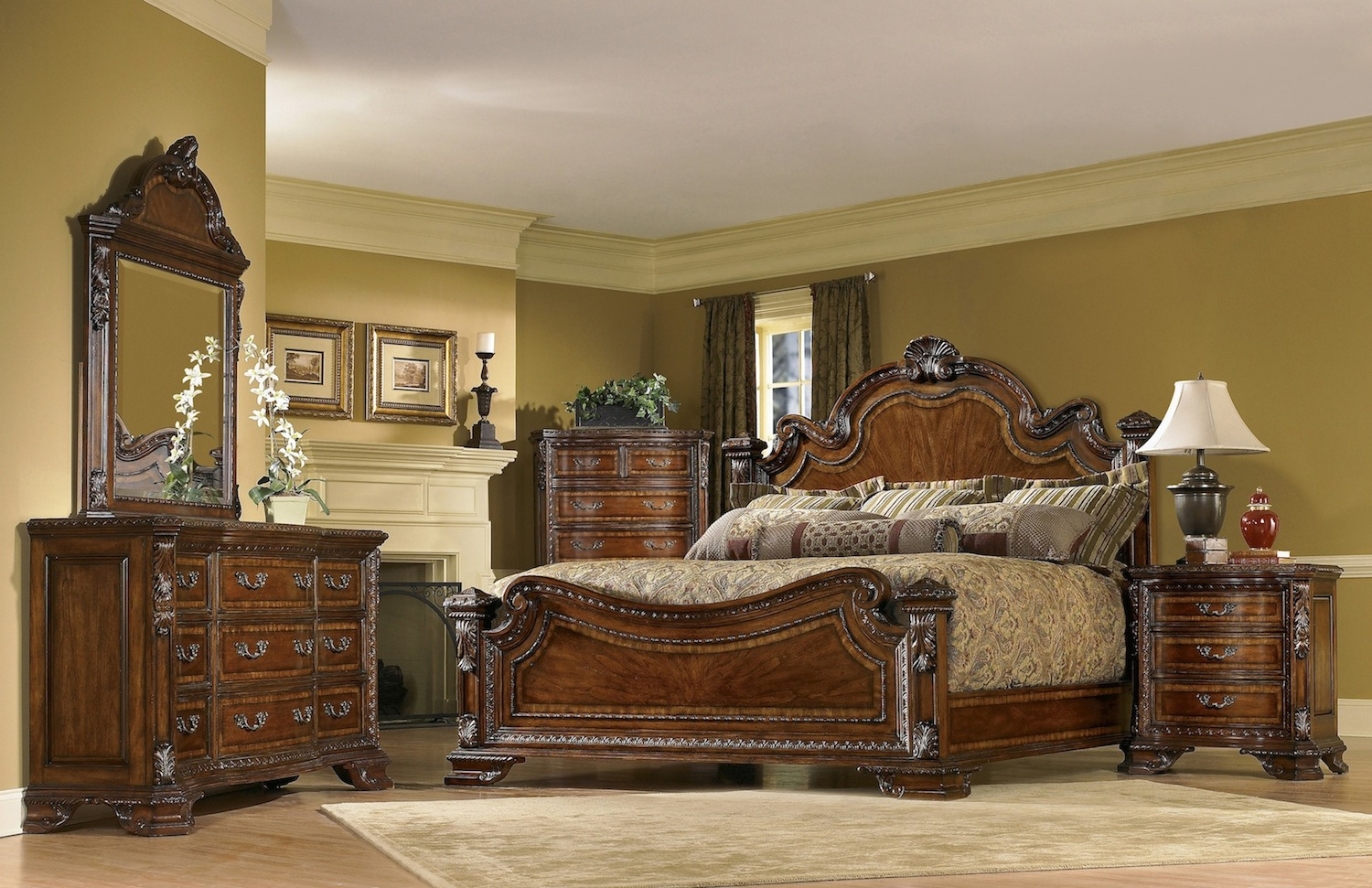 old world traditional european style bedroom furniture set 143000