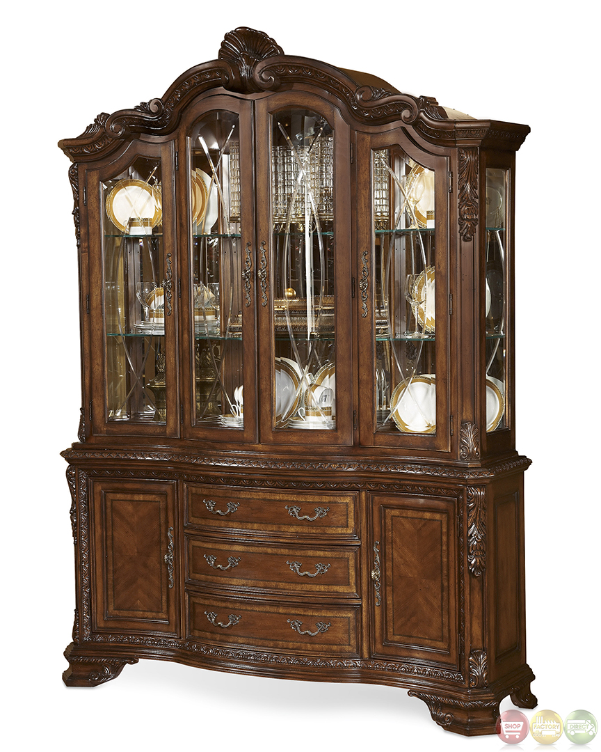 Old World Traditional Style Carved Detail China Cabinet