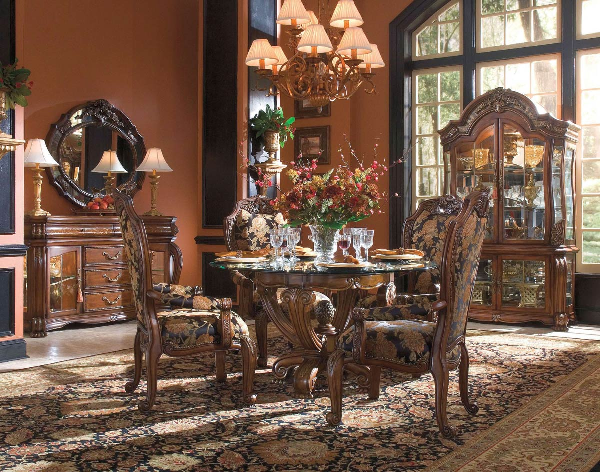 round dining room set with glass top table aico michael amini