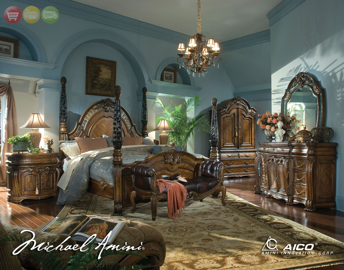 ... Amini Oppulente Luxury Poster Bed Carved Wood Bedroom Set by AICO