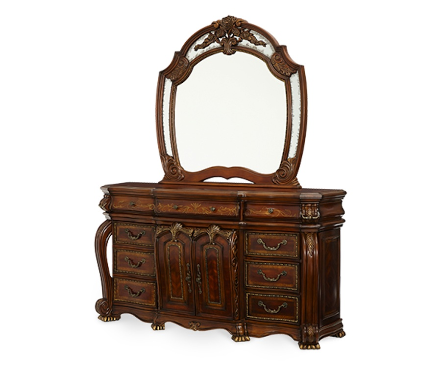 luxury poster bed carved wood bedroom furniture set aico