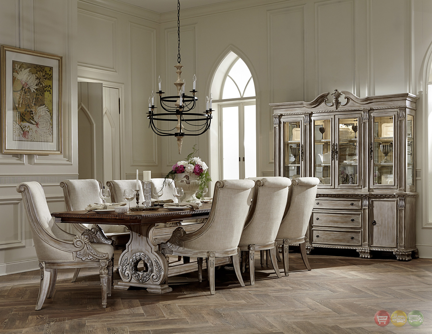 Orleans II White Wash Traditional 7pc Formal Dining Room