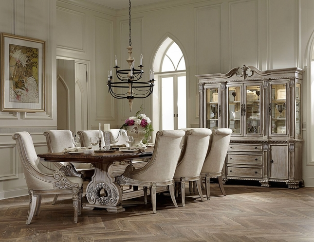 Orleans II White Wash Traditional Formal Dining Room Furniture Set