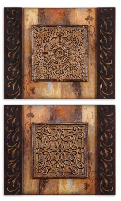 Ornamentational Frameless Set of 2 Block Art 51054