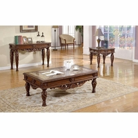 Ornate 3 Piece Living Room Table Set Traditional Style w/ Marble Tops