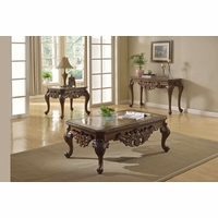 Ornate Traditional Cocktail Coffee Table & Two End Tables w/ Marble Tops