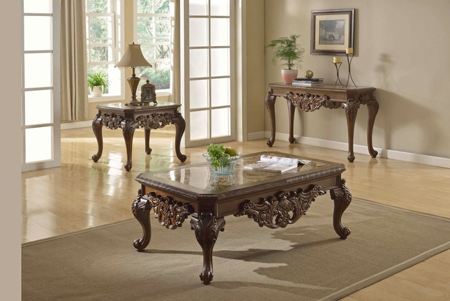 Ornate Traditional Cocktail Coffee Table & Two End Tables