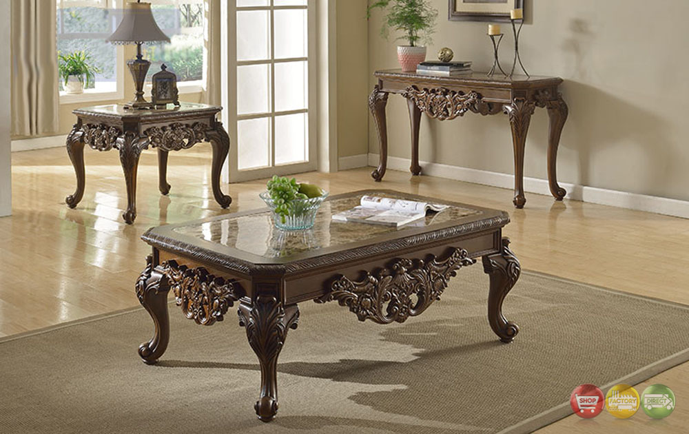 Ornate Traditional Cocktail Coffee Table Two End Tables W Marble