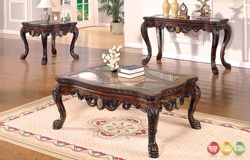... Traditional Living Room Occasional Tables 3 Piece Set with Glass Tops