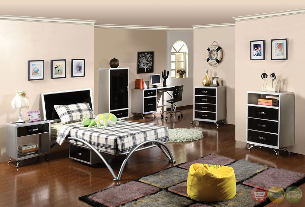 Otis Contemporary Silver And Black Youth Bedroom Set With Arch Style Legs CM7165