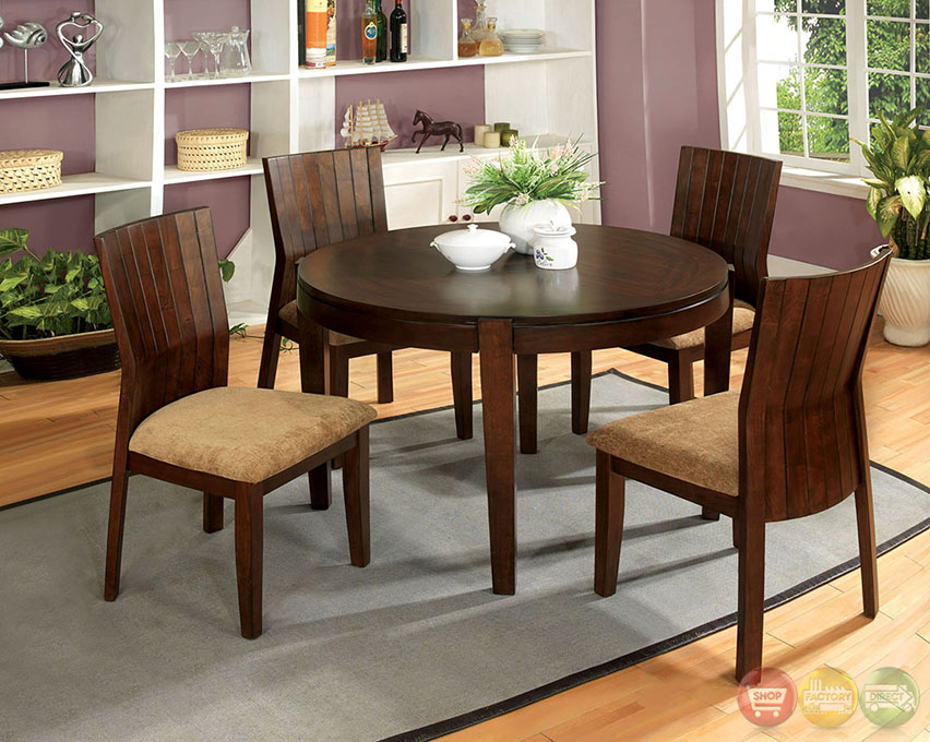 Ottawa Transitional Walnut Casual Dining Set with Padded Fabric Seat ...