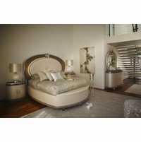 Overture Glamour 4-piece King Bedroom Set In Ivory Pearl Upholstery