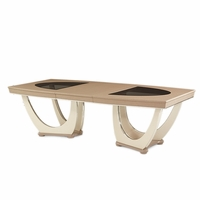 "Overture Glamour 79.5""-126"" Upholstered Top Dining Table In Cristal Beige"