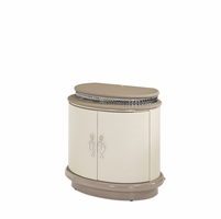Overture Glamour Cristal Beige Nightstand With Chic Crystal Accents