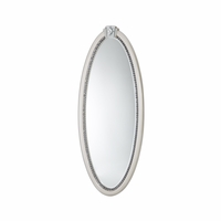 "Overture Glamour Oval Mirror With Jewelry Storage In Cristal Beige, 32""x75"""