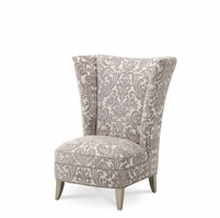 Overture Glamour Platinum Damask High Wingback Upholstered Chair