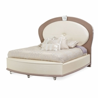 Overture Glamour Queen Bed In Ivory Pearl Upholstery & Crystal Accents