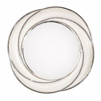 "Overture Glamour Round Wall Mirror In Champagne With Crystal Accents, 45""x45"""