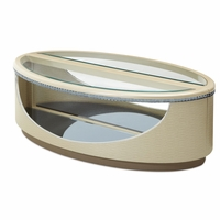 Overture Glamour Split Oval Coffee Table In Cristal Beige With Glass Top