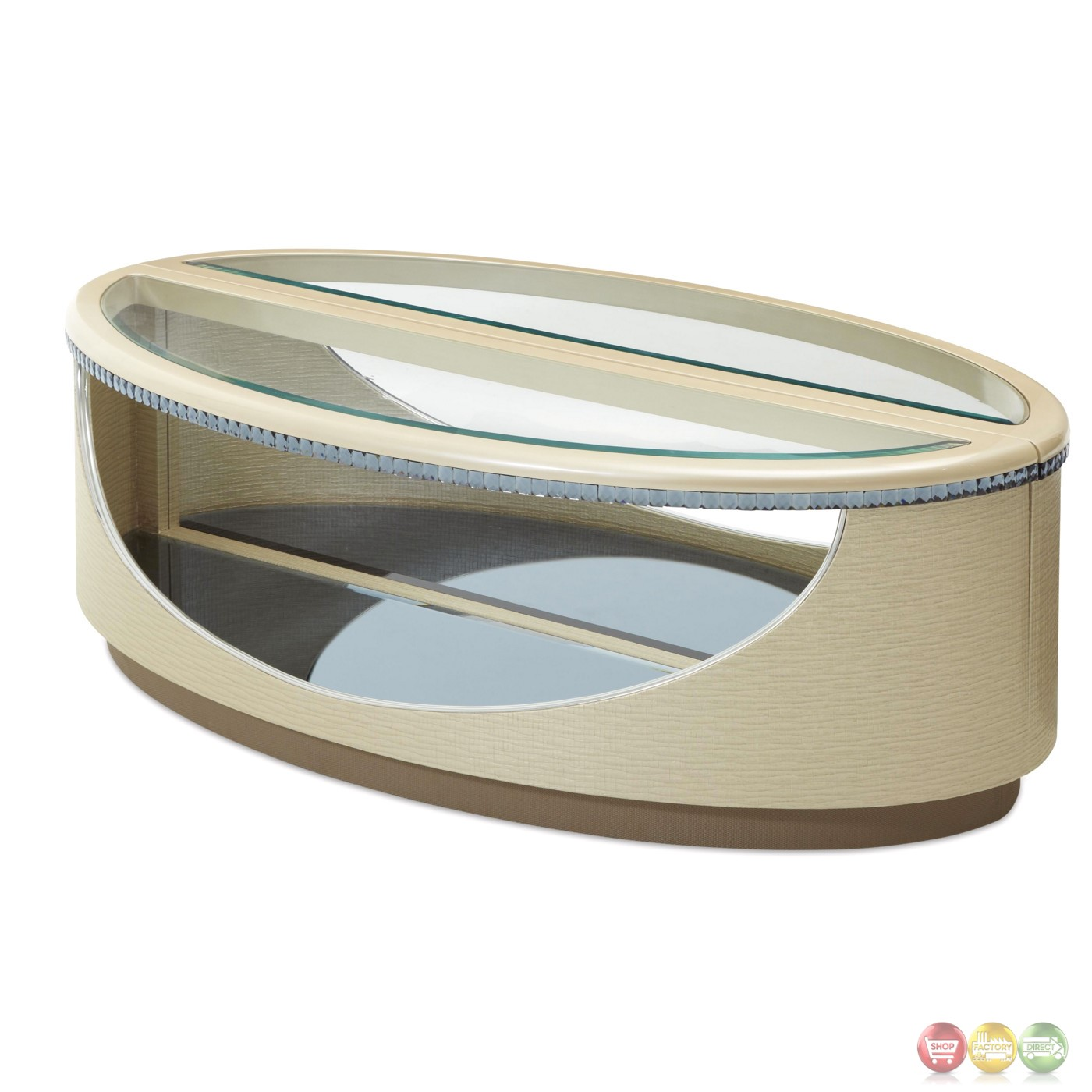Oval Coffee Table Top: Overture Glamour Split Oval Coffee Table In Cristal Beige
