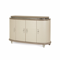 Overture Glamour Upholstered Cristal Beige Side Board With Crystal Accents