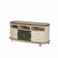 Overture Glamour Upholstered Tv Stand In Cristal Beige With Docking Station