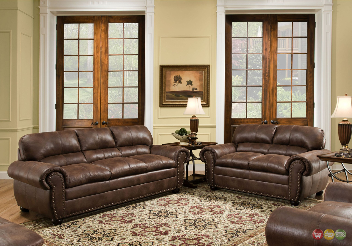 Padre Chocolate Brown Living Room Furniture Set W Nailhead Accents