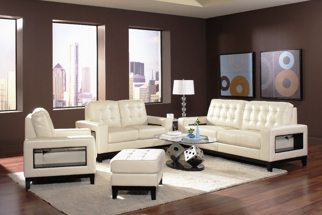 Paige Cream Bonded Leather Contemporary Design Sofa Set
