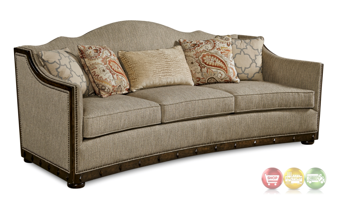 Palazzo Beige Italian Camel Back Sofa With Modern Curved ...