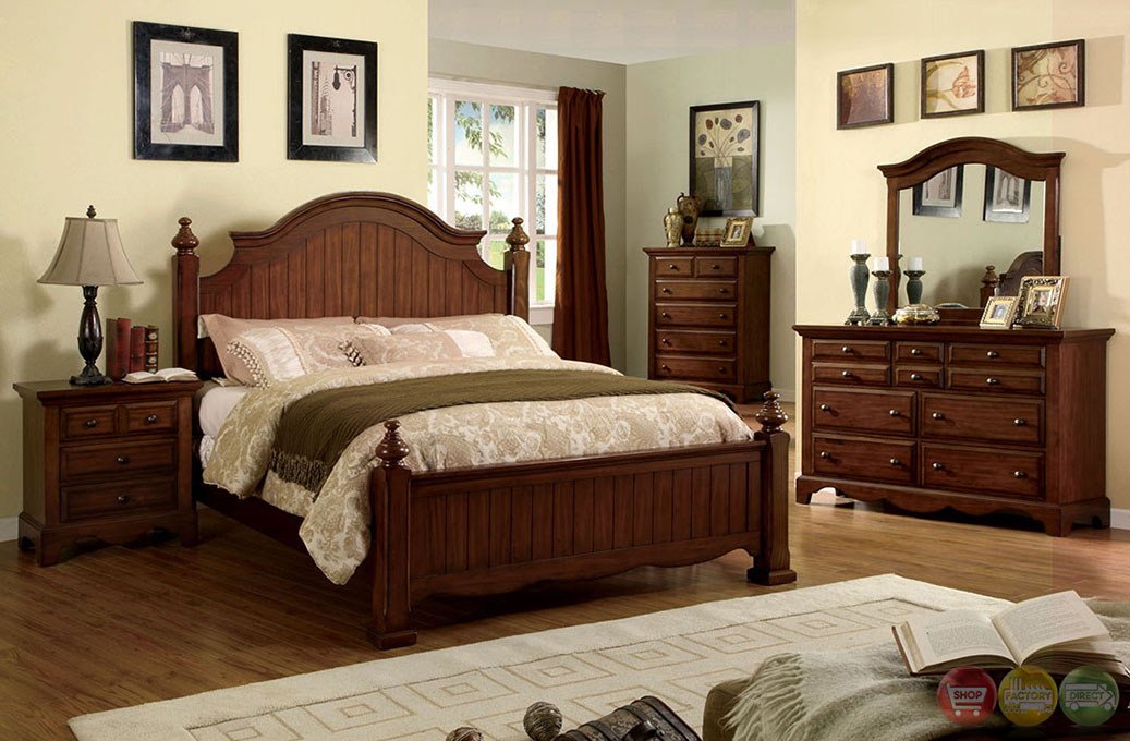 palm coast distressed light walnut panel bedroom set with antique gold