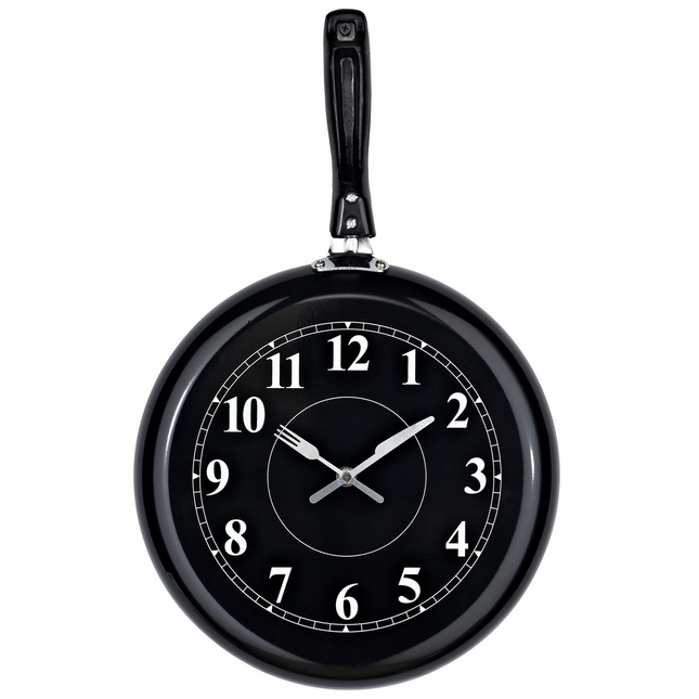 Pan Modern Cooking-inspired Pan-shaped Wall Clock, Black