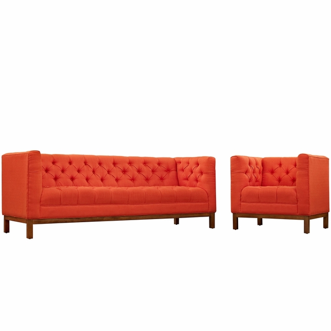 Panache Mid-century Modern 2pc Upholstered Sofa & Armchair Set, Atomic Red