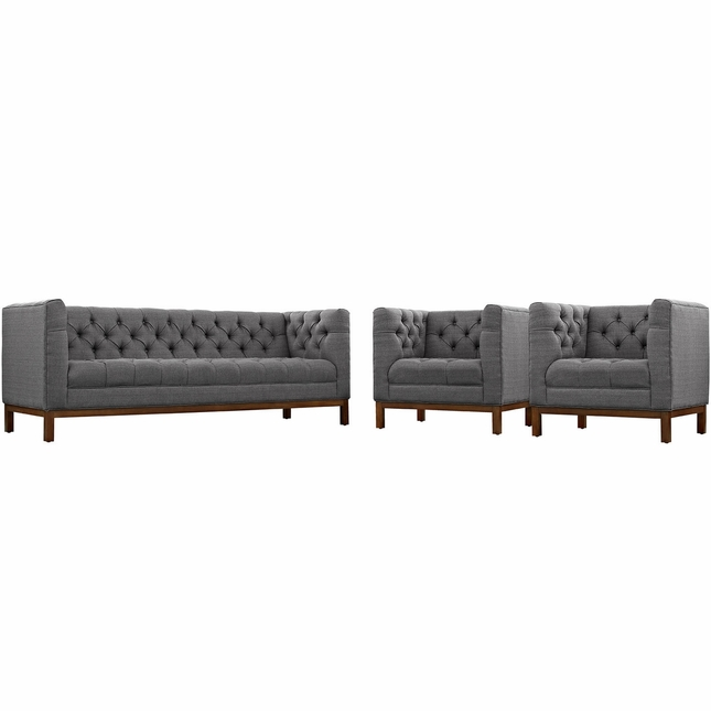 Mid-Century Modern Panache 3pc Upholstered Sofa & Armchairs Set, Gray