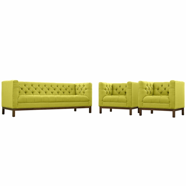Mid-Century Modern Panache 3pc Sofa & Armchairs Set, Wheatgrass