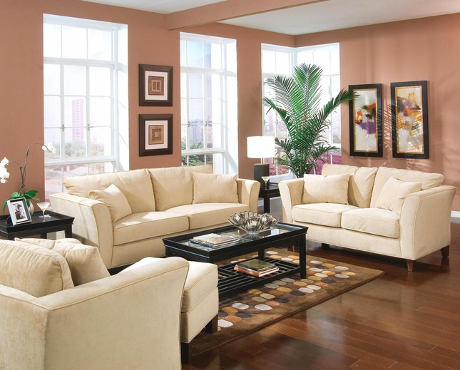 Park Place Creme Velvet Sofa and Loveseat Set