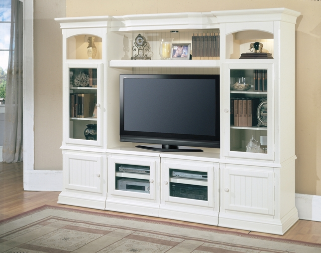 "Parker House Hartford 48"" -72"" Expandable Entertainment Wall Unit In Vintage White"