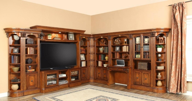"Huntington Large L Shaped Library Wall Unit w/ 48"" - 72"" TV Console and Desk"
