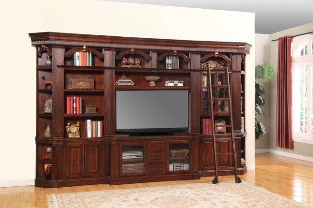 "Parker House Wellington Large 60"" Entertainment TV Wall Unit in Chestnut"